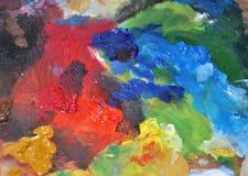 Fundo criativo da textura do sumário colorido da paleta do ` s do pintor do close up Fotografia de Stock