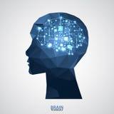 Fundo criativo do conceito do cérebro com grade triangular Artifici ilustração royalty free