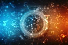 Fundo cripto abstrato global da tecnologia de Blockchain da moeda de Bitcoin ilustração do vetor
