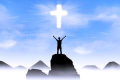 Fundo cristão: Deus de adoração do homem Imagem de Stock