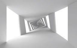Fundo 3d abstrato com o corredor espiral branco Fotografia de Stock