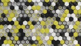 Fundo 3d abstrato feito de hexágonos pretos, brancos e amarelos no fundo branco foto de stock royalty free