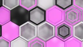 Fundo 3d abstrato feito de hexágonos pretos, brancos e roxos Fotografia de Stock Royalty Free