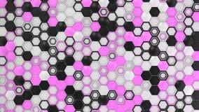 Fundo 3d abstrato feito de hexágonos pretos, brancos e roxos Foto de Stock Royalty Free