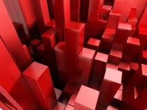 fundo 3d abstrato vermelho dos cubos Imagens de Stock