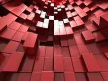 fundo 3d abstrato vermelho dos cubos Fotografia de Stock Royalty Free