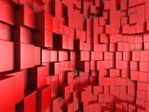 fundo 3d abstrato vermelho dos cubos Foto de Stock Royalty Free