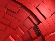 fundo 3d abstrato vermelho dos cubos Fotografia de Stock