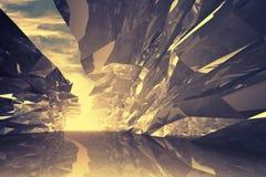 Fundo 3d digital abstrato Corredor de cristal curvado ilustração do vetor