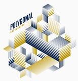 Fundo 3D dimensional do vetor listrado linear do sumário com elemento gráfico isolado do estilo retro com cubos e triângulos ilustração royalty free