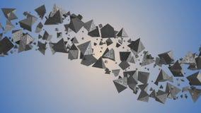 fundo 3d geométrico abstrato com a nuvem dos triângulos filme
