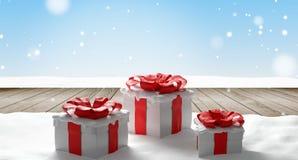 Fundo 3d-illustration dos presentes de Natal ilustração stock