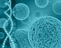 fundo 3D médico com pilhas do vírus e costas do ADN Fotografia de Stock