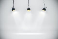 fundo 3d setup com lâmpadas da iluminação Foto de Stock