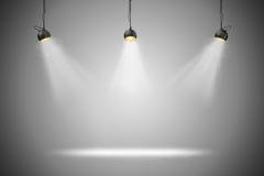 fundo 3d setup com lâmpadas da iluminação Imagem de Stock
