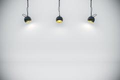 fundo 3d setup com lâmpadas da iluminação Fotos de Stock Royalty Free
