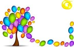 Fundo da árvore com balões ilustração do vetor