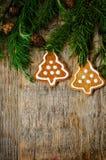 Fundo da árvore de Natal com árvore de Natal e pão-de-espécie sh Fotografia de Stock