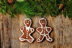Fundo da árvore de Natal com árvore de Natal e pão-de-espécie sh Imagem de Stock Royalty Free