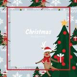 Fundo da época de férias do Natal com a árvore bonito da rena e de Natal com teste padrão sem emenda do texto do mas de X alegre  ilustração stock