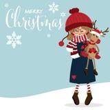Fundo da época de férias do Natal com a menina bonito no costume do inverno com a boneca bonito da rena e o texto do Natal feliz ilustração stock