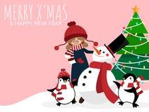Fundo da época de férias do Natal com a menina bonito no costume do inverno com boneco de neve, pinguins, árvore de Natal ilustração stock