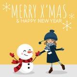 Fundo da ?poca de f?rias do Natal com a menina bonito no costume do inverno com texto de MAS do boneco de neve e de X ALEGRE ?& d ilustração stock
