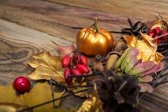 Fundo da ação de graças com abóbora e as folhas de bordo douradas Fotografia de Stock