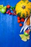 Fundo da ação de graças com frutos e cabaças do outono em uma tabela de madeira rústica azul Opinião superior da colheita do outo Fotos de Stock Royalty Free
