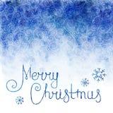 Fundo da aguarela Céu com flocos de neve de queda e Feliz Natal do texto Imagens de Stock Royalty Free