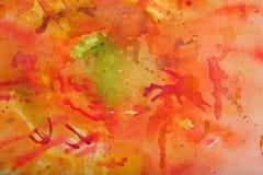 Fundo da aguarela nos vermelhos e na laranja Foto de Stock Royalty Free