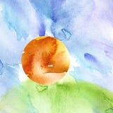 Fundo da aguarela Por do sol, alvorecer, sol amarelo, alaranjado, c?u azul com nuvens Grama verde, monte ilustração stock