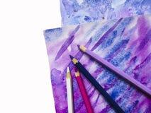 Fundo da aquarela da arte Textura tirada mão Papel e lápis imagens de stock royalty free