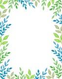 Fundo da aquarela com ramos verdes Fotografia de Stock