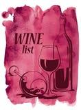 Fundo da aquarela com vidros e garrafa de vinho Imagens de Stock Royalty Free