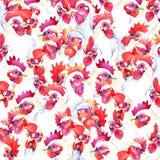 Fundo da aquarela da exploração agrícola de galinha dos gráficos da exploração agrícola de galinha ilustração do galo Fotografia de Stock Royalty Free