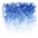 Fundo da aquarela do inverno Céu azul com flocos de neve de queda Foto de Stock
