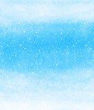 Fundo da aquarela do inverno com textura de queda do respingo da neve Imagens de Stock Royalty Free