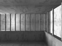 Fundo da arquitetura Sala abstrata concreta vazia escura Imagens de Stock Royalty Free