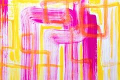 Fundo da arte abstrata Pintura a óleo na lona Textura verde e amarela Fragmento da arte finala Pontos da pintura de óleo Pincelad Imagens de Stock