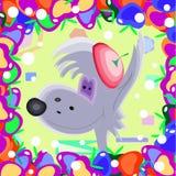 Fundo da arte das crianças do quadro do lobo cinzento Ilustração Royalty Free