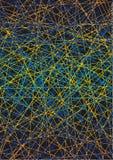 Fundo da arte, linhas de amarelo-alaranjado e de azul em um fundo preto Cores brilhantes Imagens de Stock Royalty Free