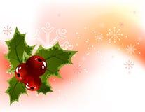 Fundo da baga do azevinho do Natal Fotografia de Stock Royalty Free