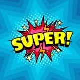 Fundo da banda desenhada, bolha do discurso do super-herói, super alegre Foto de Stock Royalty Free