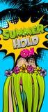 Fundo da banda desenhada do pop art da mulher de Havaí ilustração stock