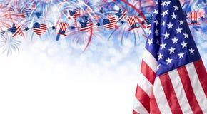 Fundo da bandeira americana e do bokeh com espaço do fogo de artifício e da cópia Imagem de Stock
