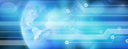 Fundo da bandeira do negócio da tecnologia do mundo Fotografia de Stock Royalty Free
