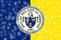 Fundo da bandeira dos flocos de neve do inverno de Trenton, New-jersey Estados Unidos da América ilustração royalty free