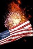Fundo da bandeira/fogos-de-artifício Imagens de Stock Royalty Free