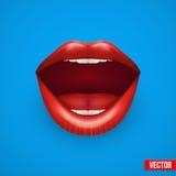 Fundo da boca da mulher com bordos abertos Imagens de Stock